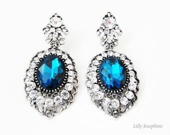 Blue Crystal Earrings, Bridal Earrings, Blue Ornate Earrings, Antique Style Earrings, Vintage Style Earrings, Ice Blue Earrings