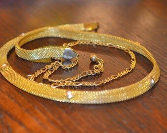 "Vintage Gold Mesh & ""Diamond"" Skinny Belt with Gold Chain; Vintage Mesh Belt; Evening Gold Belt, Mesh Belt, Gold belt, Skinny Belt"