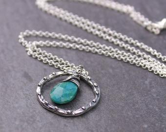 Chrysocolla Necklace, Teal Blue Gemstone Circle Necklace, Rustic Boho Sterling Silver Teardrop Hoop Necklace, Simple Gemstone