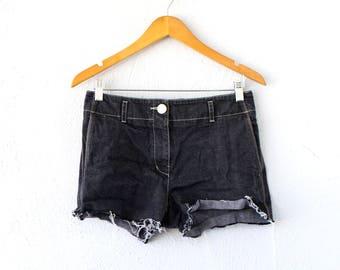 Vintage Jil Sander Cut Off Jean Shorts // Black Denim Distressed Jeans
