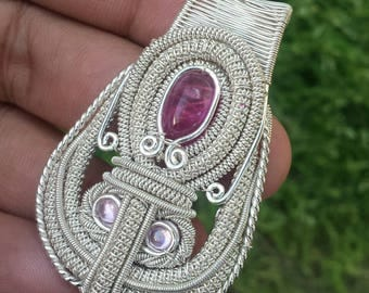 Sterling Silver Wire Wrap Pendant Tourmaline Handmade by Artist