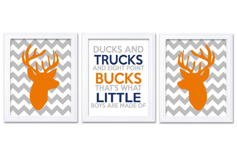 Navy Blue Grey Orange Deer Nursery Art Deer Head Prints Set of 3 Ducks Trucks Bucks Little Boys Are