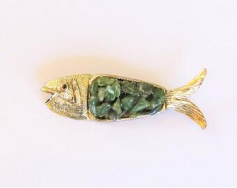Emerald Rocks and Gold Tone Fish Pin Brooch