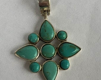 Turquoise Sterling Pendant 925 Silver 4 Necklace Star Blue Vintage Jewelry Southwestern Birthday Holiday Christmas Gift Boho