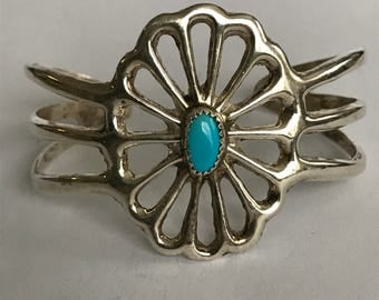 Navajo Turquoise Sterling Cuff Bracelet Concho Dead Old Pawn 925 Silver Blue Vintage Tribal Native Jewelry Birthday Mother's Gift Boho