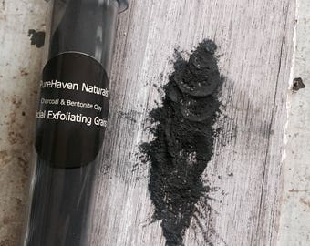 Charcoal Clay Facial Exfoliating Grains. For Oily Acne-prone Skin. Natural Skin Care. Vegan. New larger Size!