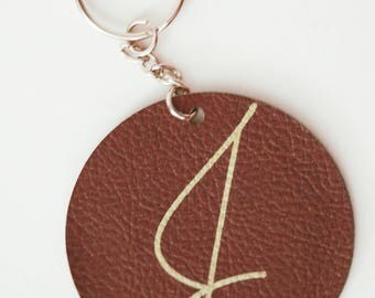 Faux Leather Initial Keychain