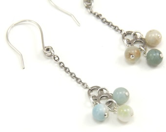 Earrings, Amazonite Bead Clusters Sterling Silver Overlay Chain Dangle Earrings, Handcrafted Sterling Ear Wires | MAE artisan jewelry