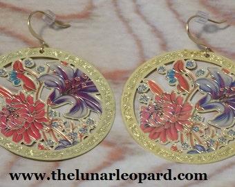 Flowers In Bloom Flat Metallic Earrings