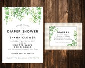 Wildflower Diaper Shower Invitation with Insert; Greenery; Gingham; Printable or set of 10