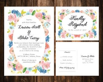 Pink Floral Wedding Invitations; Printable OR set of 25