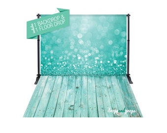 Teal Bokeh & Sea Foam Wood Floor – Photography Backdrop Combo