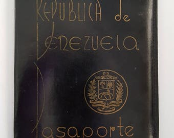 Vintage Pre-1993 Republica de Venezuela Pasaporte leather wallet, Made in Venezuela possibly early 1930's based on Art Deco font