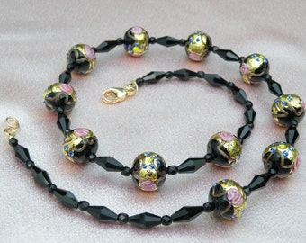 Black Vintage Murano, Venetian Beads from the 1980s, 14mm Fiorato with 24 Kt Gold Foil, Black Crystals, Gold Clasp, 23 1/4 Inch Necklace