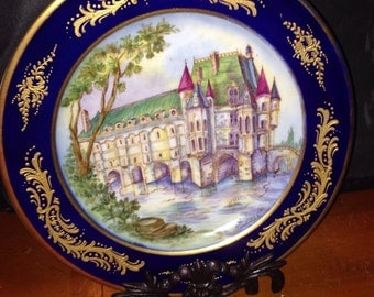 SEVRES, signed and dated 1782, hand painted by famous, well known french artist named Granet, LARGE porcelain plate