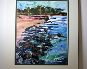 Original Watercolor on Terraskin Painting, Rocky Shoreline, Matted, Ocean, Beachside and woods along edge of water