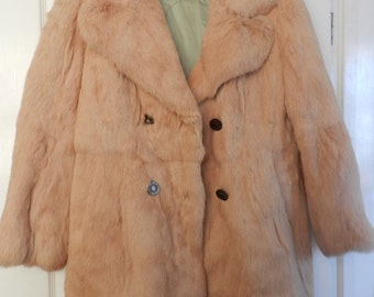 French Vintage Fur-Genuine Rabbit Fur Coat- French Fashion - Ivory Strawberry Colour - Hint of Pink - Long Sleeves - Size 46 -