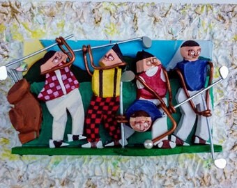 Golf Art 3D Mixed Media Abstract Art Painting Assemblage by Anthony Thomas