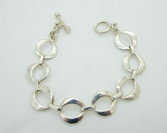 "Vintage Sterling Silver/925 Circle Link Toggle Bracelet-7.5"" ; sku # 3103"
