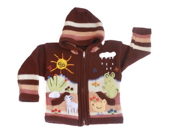 Cute Toddler Boy Hoddie - Farm Theme. Handmade- Cozy and Comfy 2T