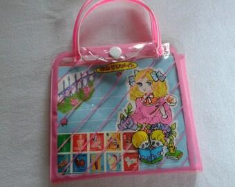 Candy style vintage japan anime manga letter set bag, shoujo showa era big eye girl