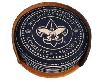 Custom Round Leatherette Coaster for Scout Leaders