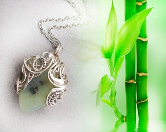 Yoga Pendant Jade Wire wrap Yoga Jewelry Magic gift Gemstone jewelry Pendant amulet OOAK jewelry