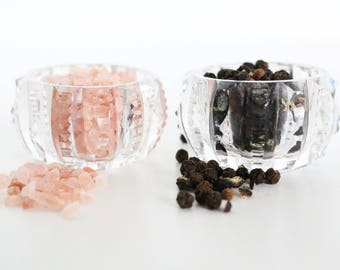 Crystal Salt And Pepper Cellar Set. Diner Table Decor. Housewarming Gifts For The Hostess. Salt & Pepper Cellars