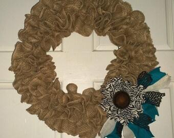 Ruffled Burlap Wreath with Zebra Print Sunflower Flower and Ribbons