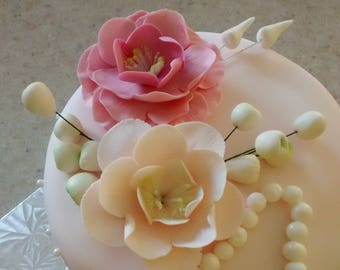 Wild Rose Gumpaste Flowers for Communions Weddings Celebration Cakes Any Color