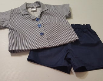 Little Boy's Vintage Style shirt and shorts set - Sizes 2 to 5