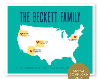 DIGITAL DOWNLOAD, Family Map, Mothers Day Gift, Mom Birthday Gift, Long Distance Family Map, Gift for Grandparents, Family, Mother, Father