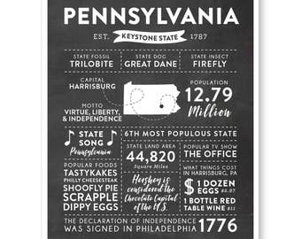 State Print, Pennsylvania State, Pennsylvania Map, State Art, State Infographic, Mens Gift, State Facts, Pennsylvania Art, Home Town Love