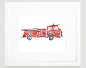 Vintage Car Print - Firetruck- Digital Download - Wall Art - Baby Boy Nursery - Toddler Art - Cars Nursery Art - Kids Wall Art