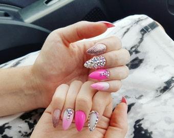 Unicorn Pink Stiletto Nails with Swarovski Crystals
