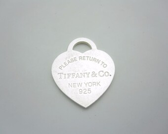 Please Return To Tiffany & Co. Sterling Silver Large Heart Tag Pendant Charm