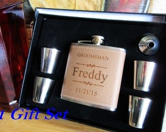 Set of 1 Groomsmen Gift Flask Box Set / FREE ENGFRAVING / Bridesmaid Gift Box Set / Father of the Bride Box Set / Wedding Box Flask Gift Set