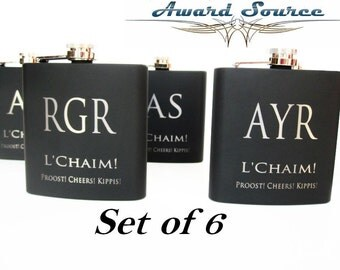Set of 6 Personalized Black Flasks // Great Groomsmen and Bridesmaids Gift Ideas // Wedding Flasks for Men and Women