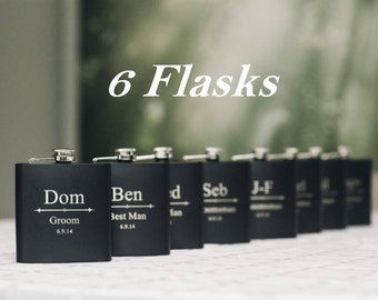 Custom Gifts, Set of 6, Personalized Flasks, Groomsmen Gifts, Black