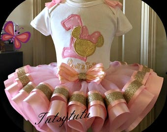 Minnie Mouse Pink and Gold Tutu Set