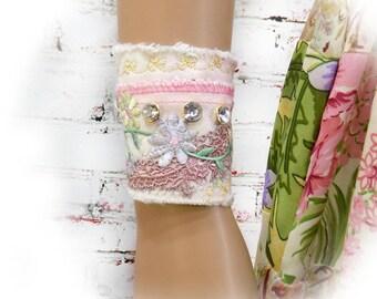 women's wrist cuff- Mori girl cuff - Hippy bracelet - Shabby tattered cuff - fabric art bracelet - OOAK trend cuff - # 223