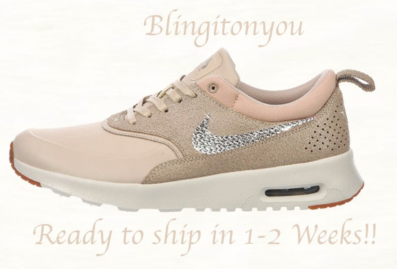 Swarovski Nike Women's Air Max Thea Oatmeal Shoes Blinged