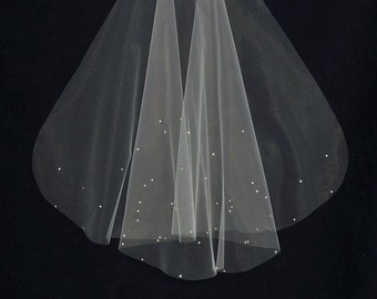 Rhinestone Scatter Fingertip Length Wedding Veil