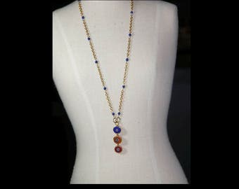 Lapis Lazuli and gold plate necklace.