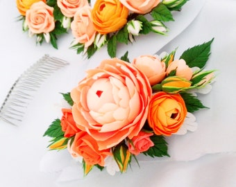 Peachy peony hair comb, hot orange ranunculus, tangerine roses, bridal hair comb. Orange wedding.