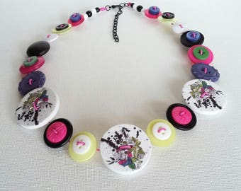 Button Necklace, Button Jewellery, Statement Necklace,Purple Necklace, Pink Green Necklace,Unique Necklace,Handmade Necklace,Quirky Necklace