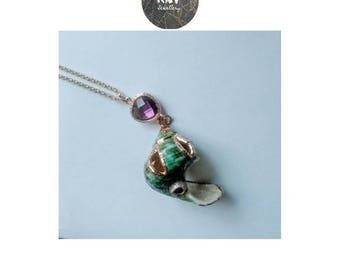 Natural Pacific Ocean Turban Shell with Purple Crystal on a 18 K Gold Filled Chain Boho Necklace Summer Beach Pendant Jewellery