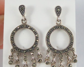 Silver Sterling Chandelier Marcasite Dangle Stud Earrings