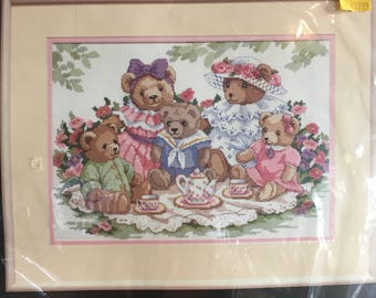 Teddy Tea Party Dimensions Counted Cross Stitch Kit #3733