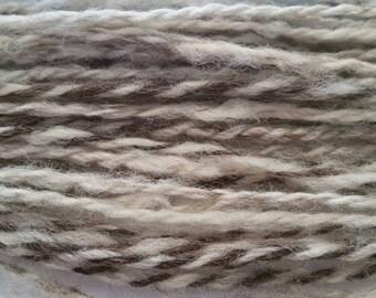 Hand Spun 2 Ply Yarn - 100% Jacob Wool - natural color - 60 yards